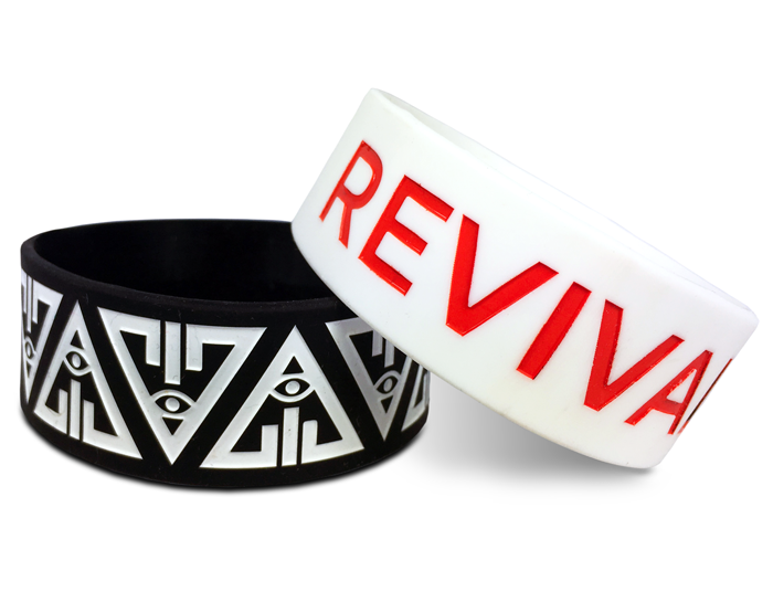 personalized rubber bracelets in white and black