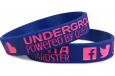event wristbands featuring social media icons