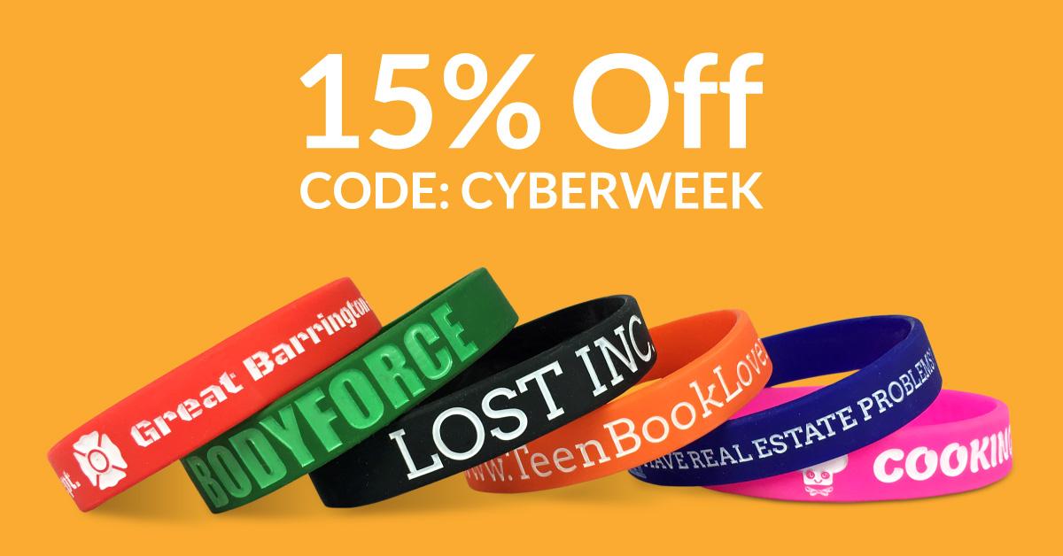 cyber week wristband sale promo code cyberweek for 15% off