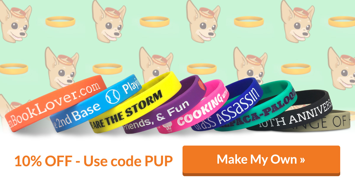 wristbands marketing ad showing wristbands and promo code pup