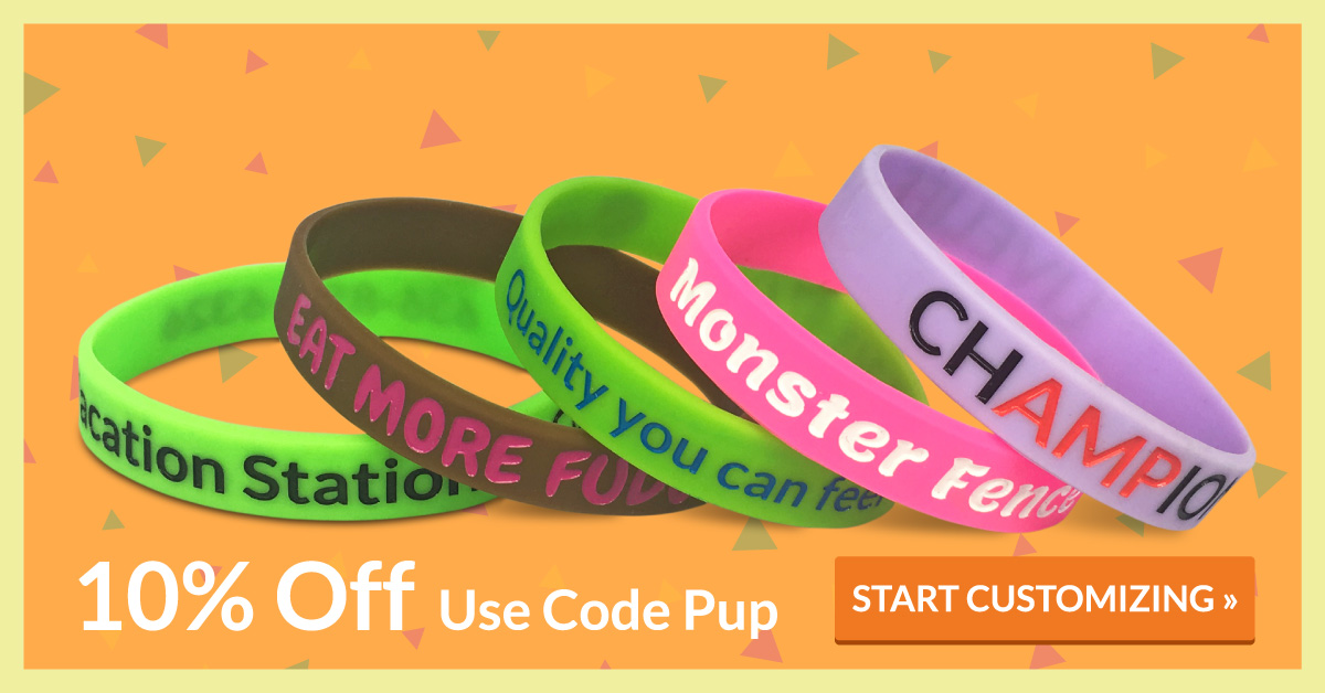 custom wristbands promotion with 10% off using code pup