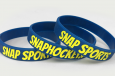 custom wristband for snap sports in blue and yellow
