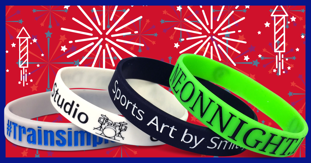 15% off custom wristbands promo for the 4th of July