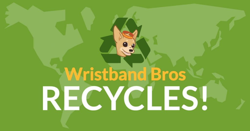 Wristband Bros recycling image with logo and map of world.