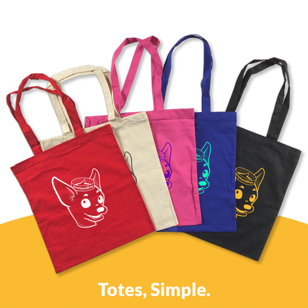 The Light Cotton Tote shown in multiple colors with a Wristband Bros logo screen print.