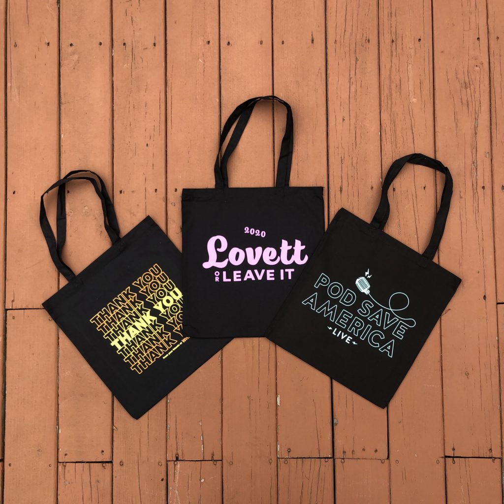 3 custom screen printed tote bags in black