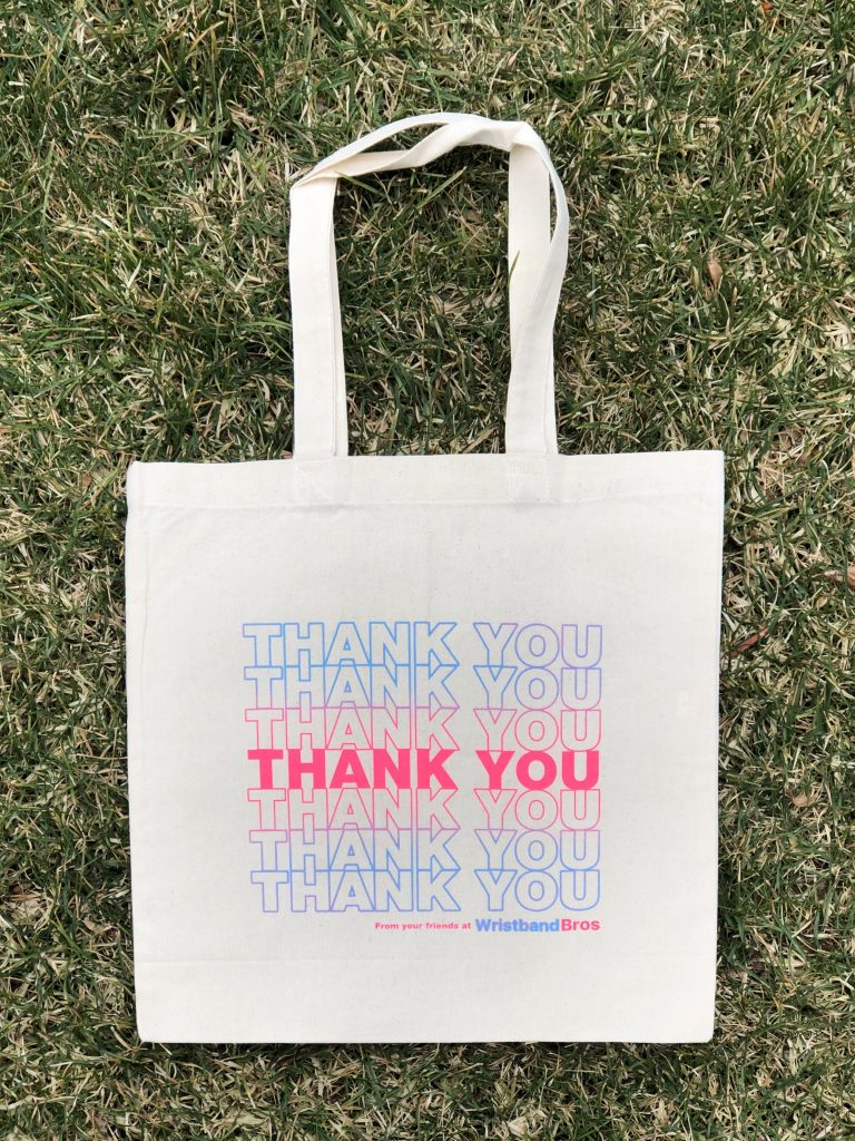Wristband Bros Thank You screen printed tote bag in natural