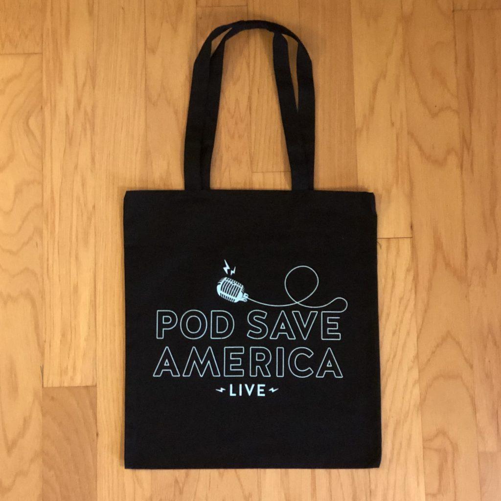 Pod Save America screen printed tote bag in black